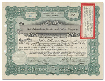 American Rubber and Fabric Company Stock Certificate