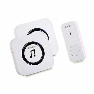 Chetoo Wireless Doorbell Kit 2 Plugin Receivers with LED Flash Indicator and ...
