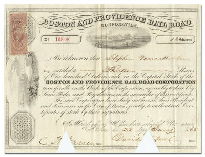 Boston and Providence Rail Road Corporation Stock Certificate (dated 1865)