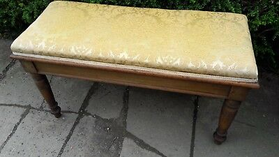antique mahogany duet stool or window seat with lift up lid edwardian /victorian