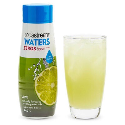 SodaStream Zeros Lime 440ml/Sparkling Soda Water Syrup Mix - Low Sugar/Makes 9L