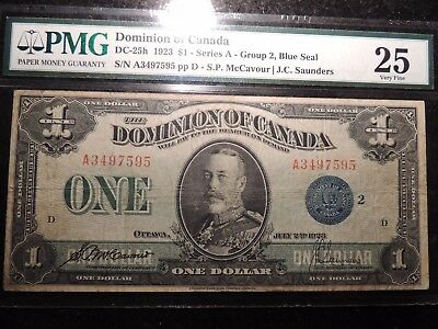 1923 DOMINION OF CANADA $ 1 ONE DOLLAR DC-25h A3497595 PMG CERTIFIED VF-25