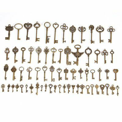 69pcs Assorted Antique Vintage Old Look Large Bronze Skeleton Keys Lot Charm Bow
