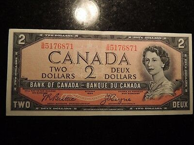 1954 BANK OF CANADA $2 DOLLARS BEATTIE COYNE BC-38a S/B5176871 MODIFIED PORTRAIT
