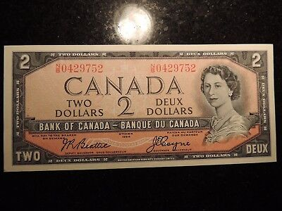 1954 BANK OF CANADA $2 DOLLARS BEATTIE COYNE BC-38a N/B0429752 MODIFIED PORTRAIT