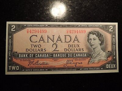 1954 BANK OF CANADA $2 DOLLARS BEATTIE COYNE BC-38a O/B4294499 MODIFIED PORTRAIT