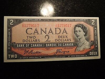 1954 BANK OF CANADA $2 DOLLARS BEATTIE COYNE BC-38a Z/B1279517 MODIFIED PORTRAIT