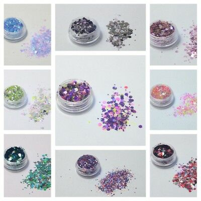 Chunky Glitter Pots Mix Face Nail Eye Body Tattoo Festival Cosmetic Dance