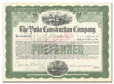 Yuba Construction Company Stock Certificate (California Dredge Maker)