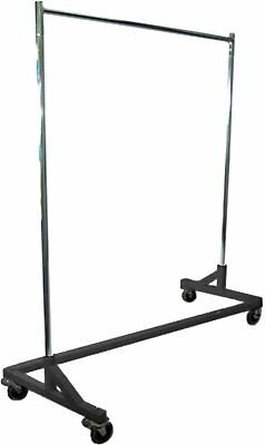 400LB LOAD Commercial Grade Rolling, Z Rack Garment Rack with Nesting Black Base