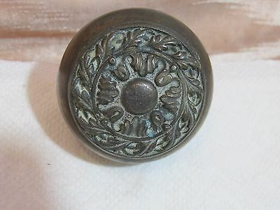Antique Heavy Brass Finish Door Knob with Ornate Pattern, Single on a Spindle