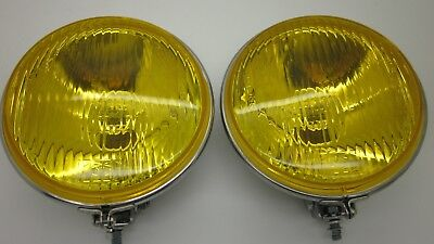 CLASSIC VINTAGE 6 INCH ROUND YELLOW FOG LIGHT NEW SUIT VW BENZ BMW BMC EURO Pair