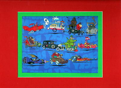 WACKY RACES FIELD Of 11 RACERS PRINT PROFESSIONALLY MATTED Hanna Barbera