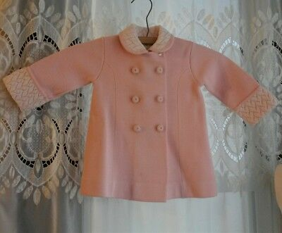 Vtg 1950's 60's Little World Inc Pink Knit Coat Sweater Embroidere Lace  2T XL