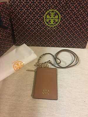 NWT TORY BURCH ROBINSON Lanyard ID/CREDIT CARD HOLDER Tiger Eye Tan