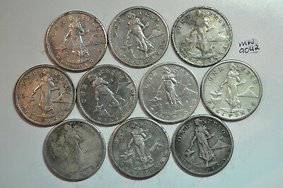mw9142 Philippines; Lot of 10 circulated Coins - Silver Peso - 1909 S   KM#172