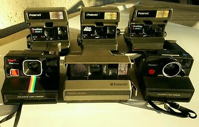 Lot of 6 Vintage Polaroid Instant Cameras Untested Parts/Repairs As Is