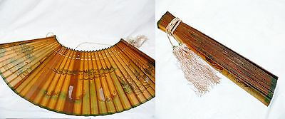 Antique 19 Century Chinese Calligraphy Ink Color Wash Painting Paper Fan Scroll