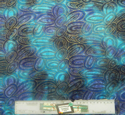 Patchwork Quilting Sewing Fabric TURQUOISE SHELL METALLIC BATIKS 50x55cm FQ New