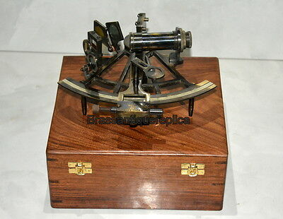 "6"" Brass Nautical Antique vintage Sextant With Wooden Box"