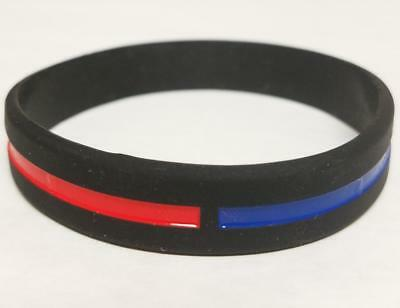 Police Fire silicone wristband support Thin Blue/ Red line.  Sm adult/child size