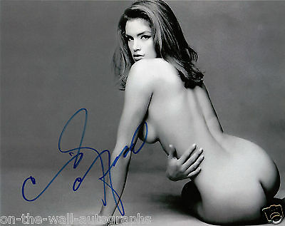 Cindy Crawford Hand Signed Autographed Hot Sexy Model Black & White Photo W/Coa!