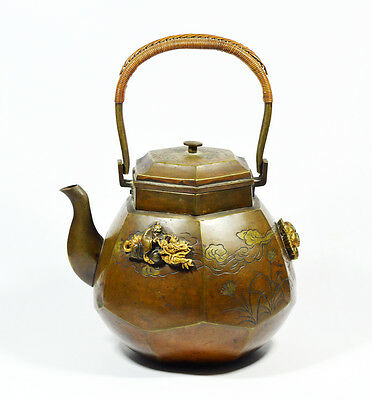 ANITIQUE MEIJI SOFT METAL INLAID SILVER TEAPOT TEA JAPANESE JAPAN 19th Century