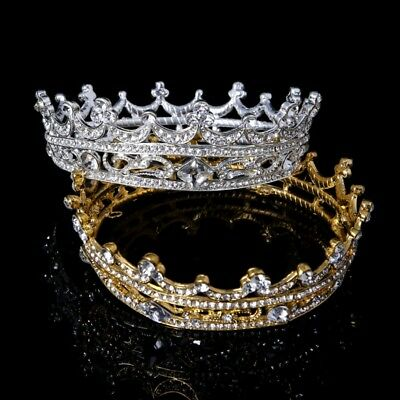 Women Full Round Tiara Bridal Crown Rhinestone Headpiece Wedding Hair Jewelry
