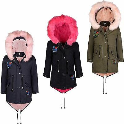 Girls Winter Parka Coat Kids Hood Padded Jacket Bird Applique Fur Lining 7-16 Y