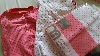 x2 MOTHERCARE baby girls Heart sleepsuits baby grows Romper 18-24 Months 2 Years