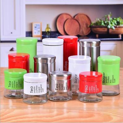 3Pc Kitchen Tea Coffee Sugar Glass Steel Jar Container Canister Storage With Lid