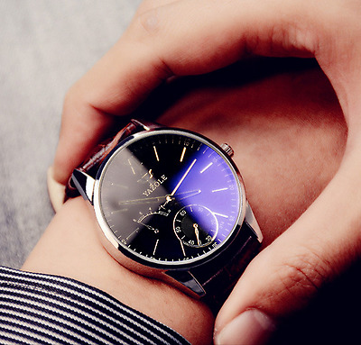 Military Analog Quartz Watches Luxury Men's Date Stainless steel Leather Watch