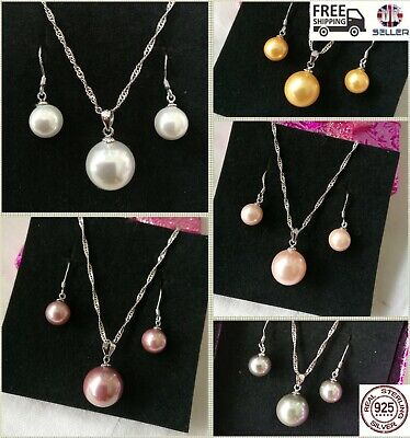 Freshwater Pearl Sterling Silver Necklace & Earrings with 925 Stamp