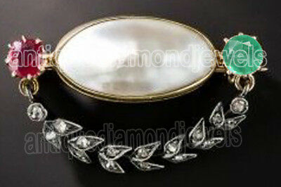 0.48cts ROSE CUT DIAMOND EMERALD RUBY PEARL ANTIQUE VICTORIAN LOOK SILVER BROOCH