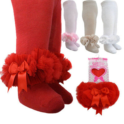 Stunning Fancy Frilly Spanish Tutu Tights + Bows Party Christening Baby 0-1 Year