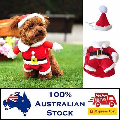 Dog Santa Costume | FREE POST | Christmas Xmas Outfit Puppy Suit Pet Clothes