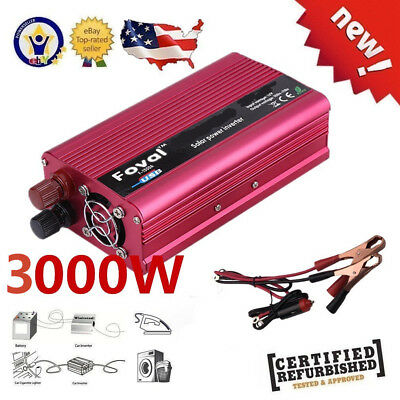 3000W Portable 12V DC to AC 110V Converter Power Pure Sine Inverter For BMW LS