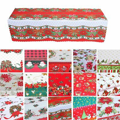 Christmas Damask Stripe Branch Table Cloth Fabric Xmas Décor Rectangular / Round
