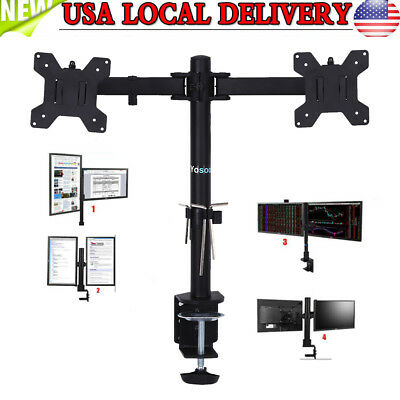 360° Swivel Dual Arm LCD Monitor Desk Mount Stand Computer Holder Bracket 13-27""