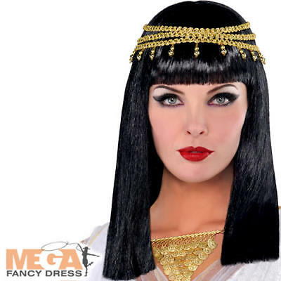 Egyptian Queen Wig Ladies Fancy Dress Cleopatra Womens Adults Costume Accessory