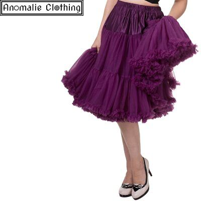 "Banned Apparel 26"" Long Lifeforms Petticoat in Aubergine - 1950s Vintage Retro"