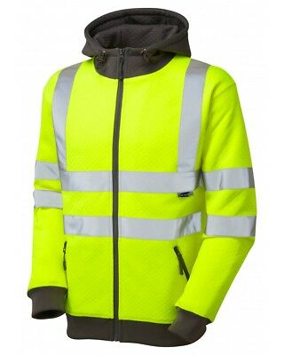 Leo Workwear Saunton ISO20471:3 yellow hi-viz full-zip hoody sweat size S-6XL