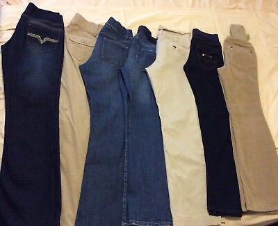 Lot of 7 size small maternity jeans khaki corduroy old navy oh baby motherhood