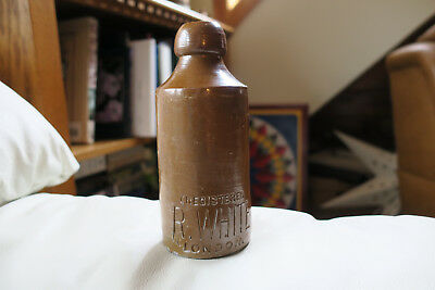 "Vintage R White London Salt-Glazed Stoneware Bottle 6 1/2"" Beer/ginger Beer Nice"