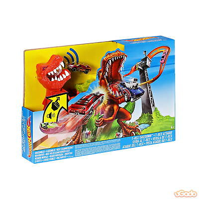 Mattel Hot Wheels T-Rex Takedown Play Set Dino Action Spielset Sound inkl.1 Auto