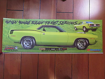 Chrysler power B.F. Goodrich 1970 Hemi Cuda Barracuda poster 3 feet long x 1 ft