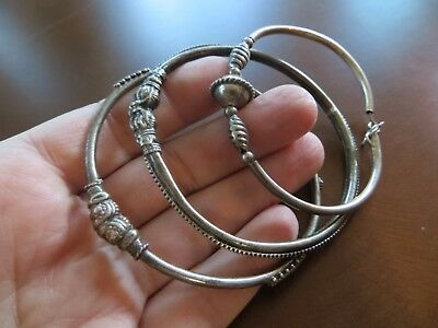 Old Ethnic Tribal Rajasthan Sterling Hand Crafted bracelets lot of 3 / 6-6.5 ""