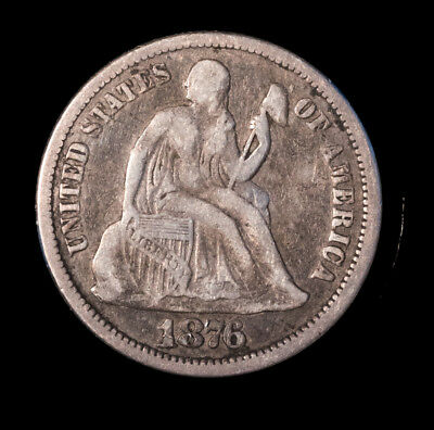 1876 10C Liberty Seated Dime Very Fine Condition Free S/H *1941