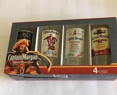 Captain Morgan Official Crew Gear Set of 4 Glasses 15 oz Puerto Rican Spiced Rum