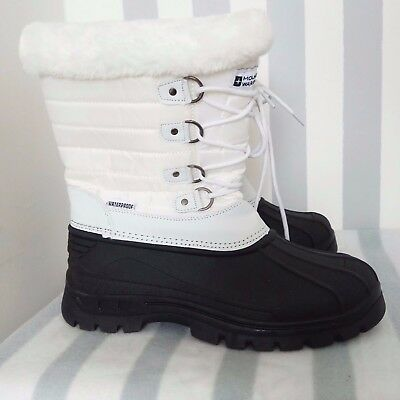 Mountain Warehouse ladies white black lined waterproof snow duck wellies boots 6
